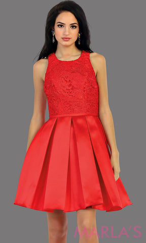 1463-Short taffeta red dress with lace bodice. This grade 8 grad dress has a high neck and built in cups. Perfect for confirmation, graduation dress, wedding guest dress, homecoming, short prom dress, and damas. Avail in plus sizes
