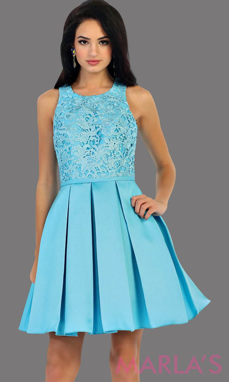 1463-Short taffeta torquoise dress with lace bodice. This blue grade 8 grad dress has a high neck and built in cups. Perfect for confirmation, graduation, wedding guest dress, homecoming, short prom dress, and damas. Avail in plus sizes