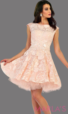 1464-Short high neck blush dress with sequin fabric. This has an open back with a tulle skirt. Perfect pink dress for confirmation, grade 8 grad dress, graduation dress, short prom dress, bridal shower dress. Avail in plus sizes