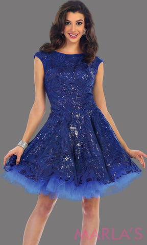 1464-Short high neck royal blue dress with sequin fabric. This has an open back with a tulle skirt. Perfect blue dress for confirmation, grade 8 grad dress, graduation dress, short prom dress, bridal shower dress. Avail in plus sizes