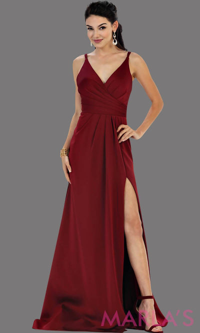 Long fitted burgandy party dress with high slit. This is a sleek and sexy dark red prom dress. It can be worn as a wedding guest dress, or sexy bridesmaid dress