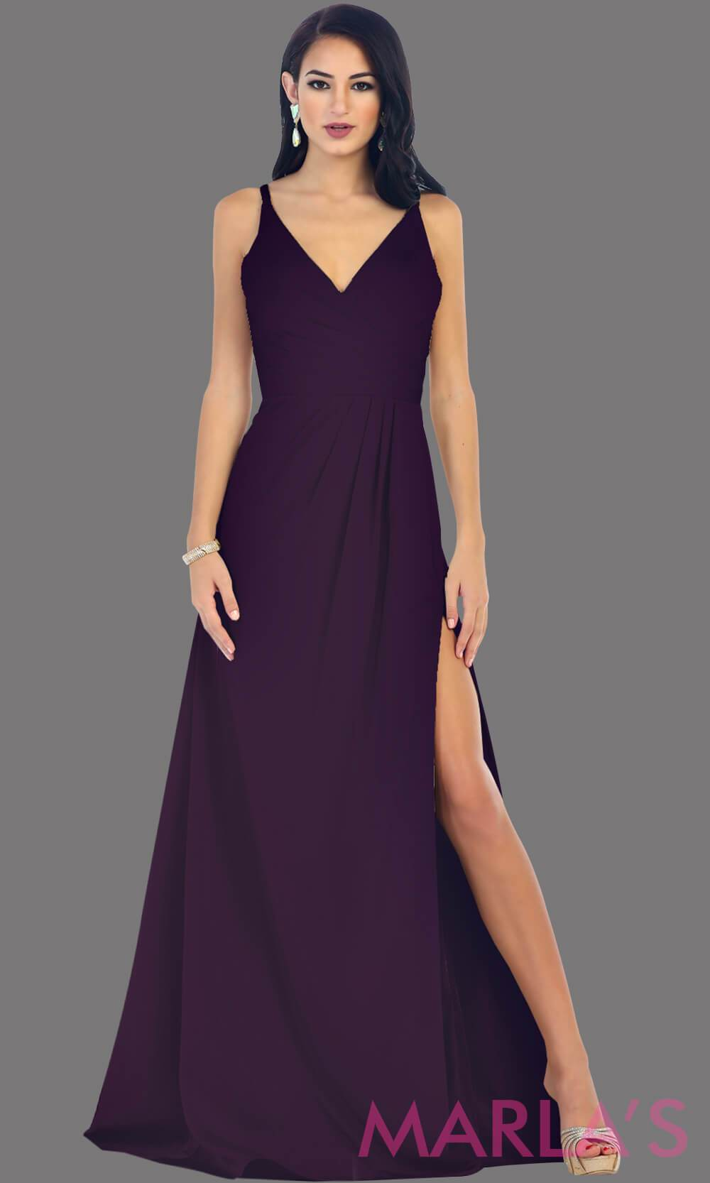 Purple bridesmaid dresses marlas fashions eggplant long fitted jersey dress with high slit ombrellifo Image collections