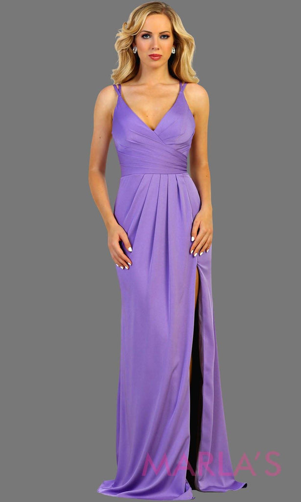 Long fitted taupe party dress with high slit. This is a sleek and sexy champagne prom dress. It can be worn as a wedding guest dress, or sexy bridesmaid dress