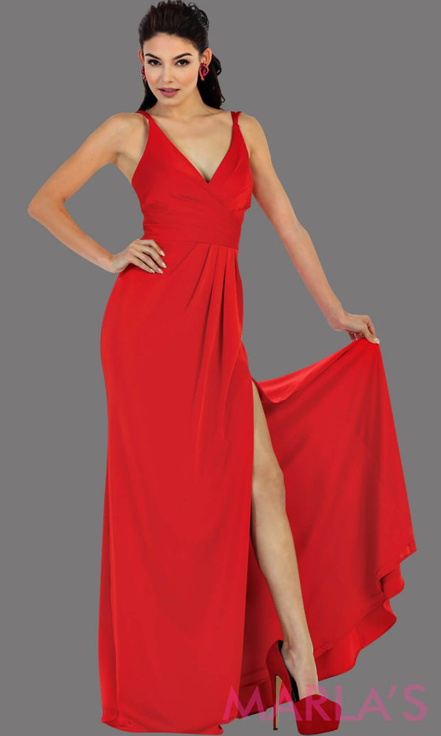 Long fitted red party dress with high slit. This is a sleek and sexy red prom dress. It can be worn as a wedding guest dress, or sexy bridesmaid dress