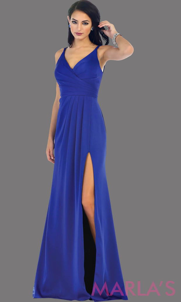 Long fitted royal blue party dress with high slit. This is a sleek and sexy blue prom dress. It can be worn as a wedding guest dress, or sexy bridesmaid dress