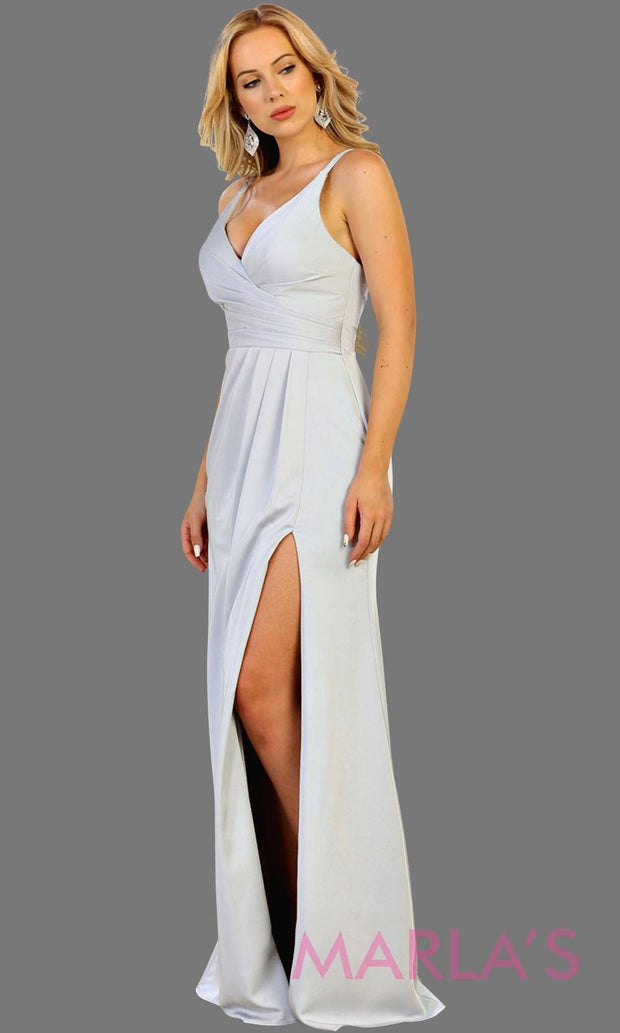 Long fitted white party dress with high slit. This is a sleek and sexy white prom dress. It can be worn as a simple wedding dress, second wedding dress, bridal dress, destination wedding gown, simple white dress. Plus size avail