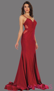 Long sleek and sexy burgundy dress with sheer mesh cutouts. This sexy dark red dress is perfect for prom, wedding guest dress, engagement dress, formal evening party, formal wedding, gala. Available in plus sizes.