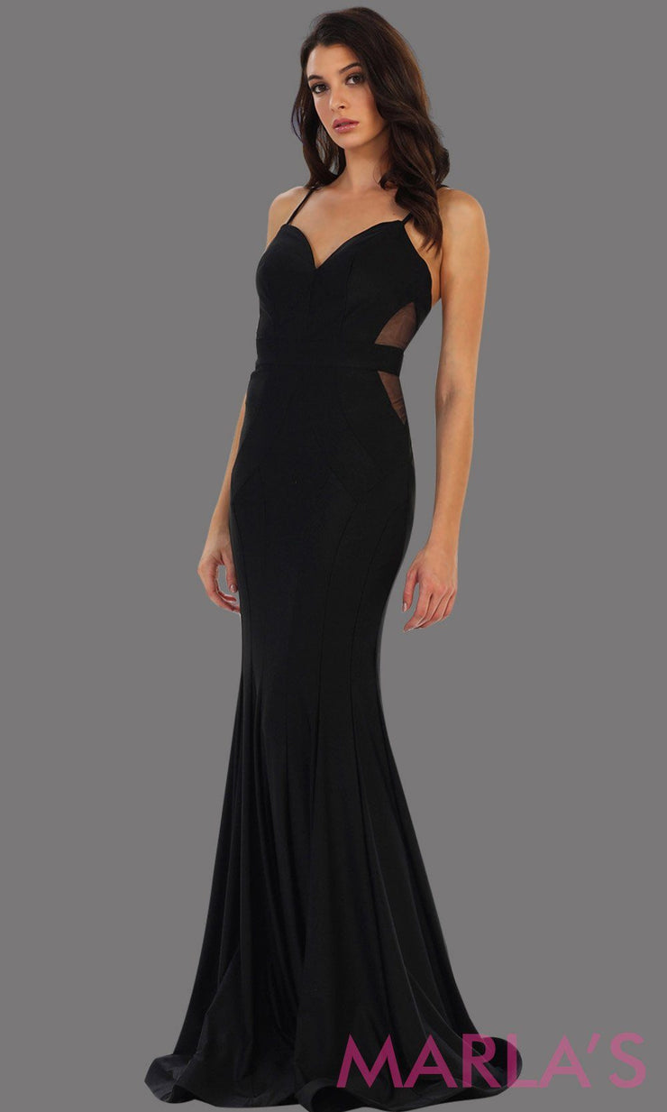 Long black fitted mermaid evening dress with side mesh waist. This full length sleek and sexy dress is perfect for prom, gala, wedding guest dress, formal party dress. Available in plus sizes.
