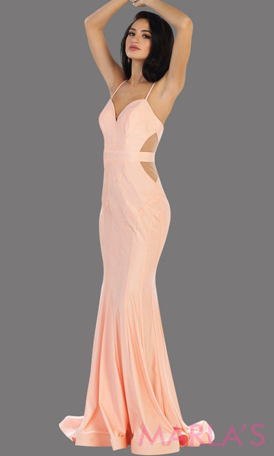Long blush pink fitted mermaid evening dress with side mesh waist. This full length sleek and sexy pink dress is perfect for prom, gala, wedding guest dress, formal party dress. Available in plus sizes.