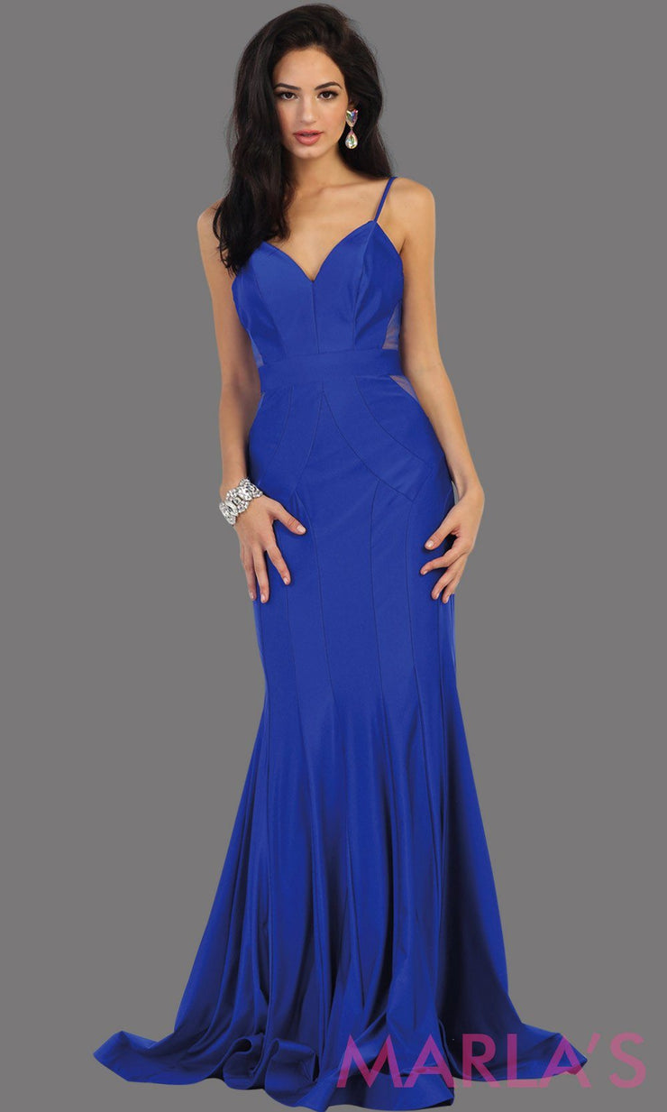 Long royal blue fitted mermaid evening dress with side mesh waist. This full length blue sleek and sexy dress is perfect for prom, gala, wedding guest dress, formal party dress. Available in plus sizes.
