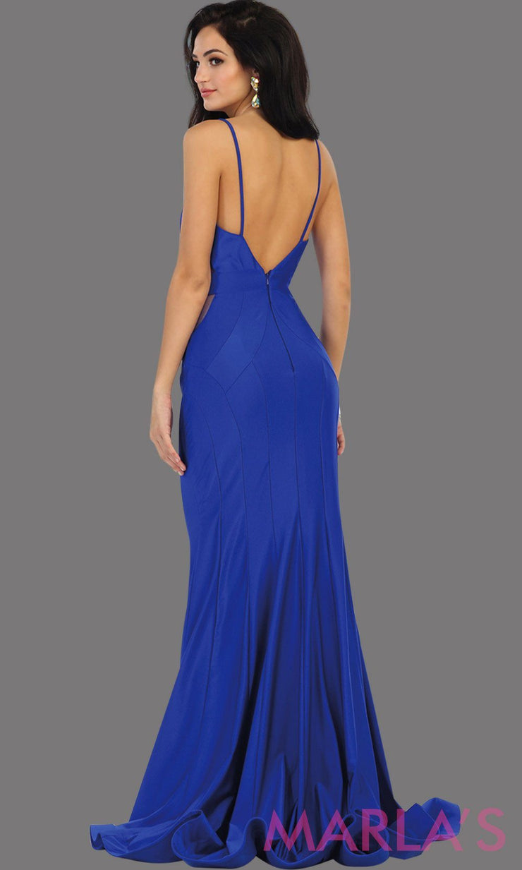 Back Long royal blue fitted mermaid evening dress with side mesh waist. This full length blue sleek and sexy dress is perfect for prom, gala, wedding guest dress, formal party dress. Available in plus sizes.