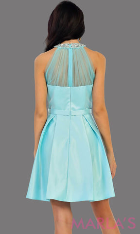 1474-Back of short high neck taffeta aqua grade 8 grad dress with rhinestone neckline. Perfect as a ligth blue confirmation dress, wedding guest dress, graduation dress, short prom dress, or damas dress. Available in plus sizes