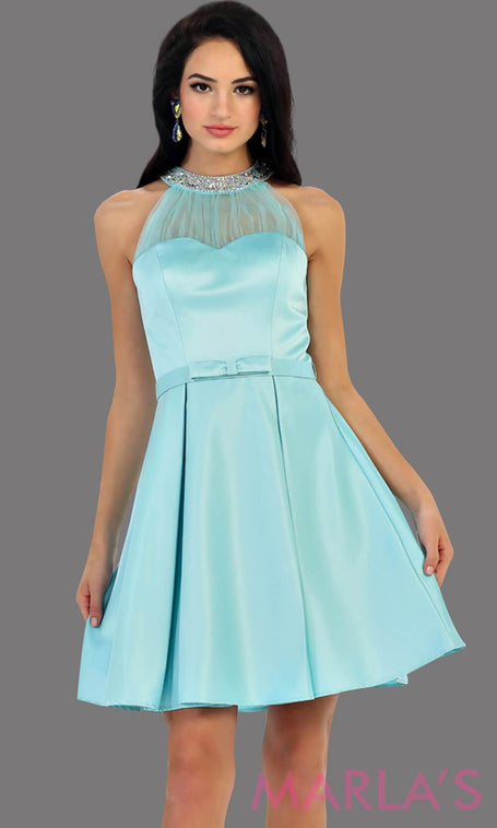 1474-Short High neck taffeta aqua grade 8 grad dress with rhinestone neckline. Perfect as a ligth blue confirmation dress, wedding guest dress, graduation dress, short prom dress, or damas dress. Available in plus sizes