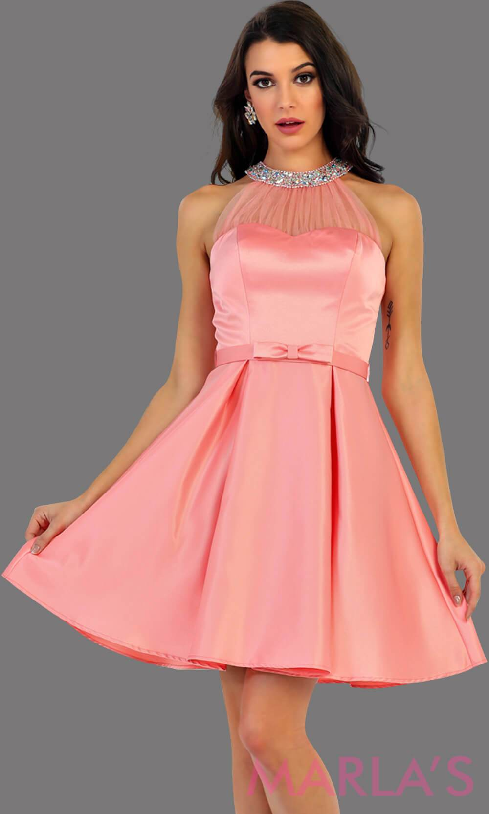 1474-Short High neck taffeta coral grade 8 grad dress with rhinestone neckline. Perfect as a confirmation dress, wedding guest dress, graduation dress, short prom dress, or damas dress. Available in plus sizes