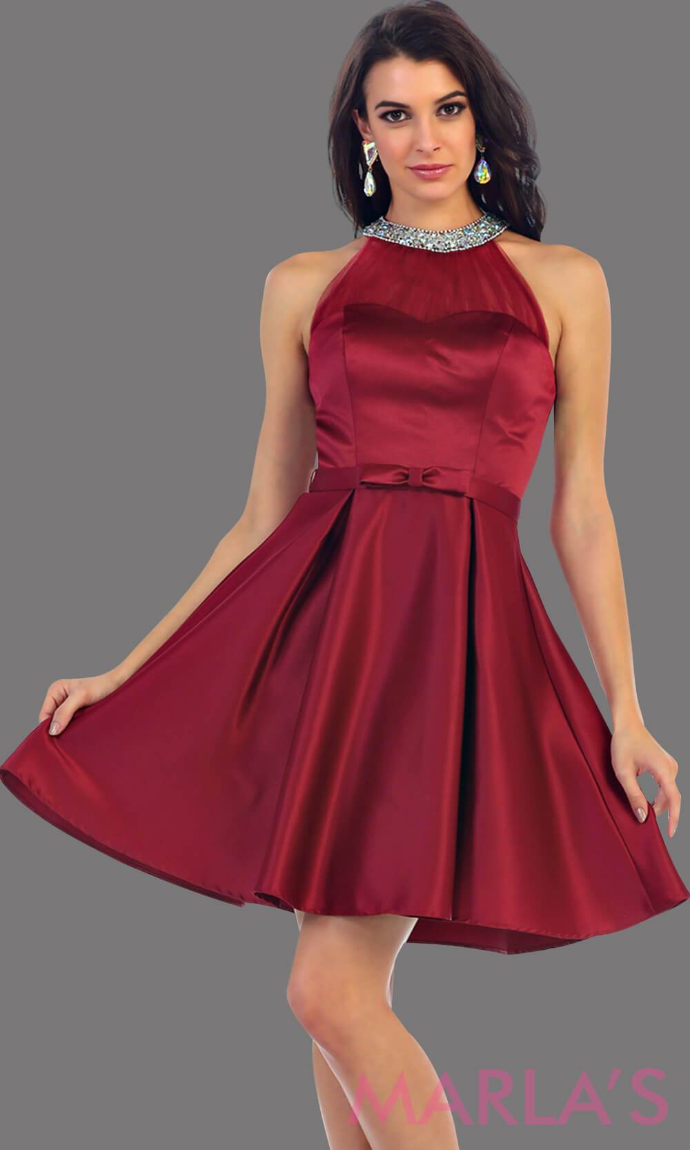 1474-Short high neck taffeta burgundy grade 8 grad dress with rhinestone neckline. Perfect as a dark red confirmation dress, wedding guest dress, graduation dress, short prom dress, or damas dress. Available in plus sizes