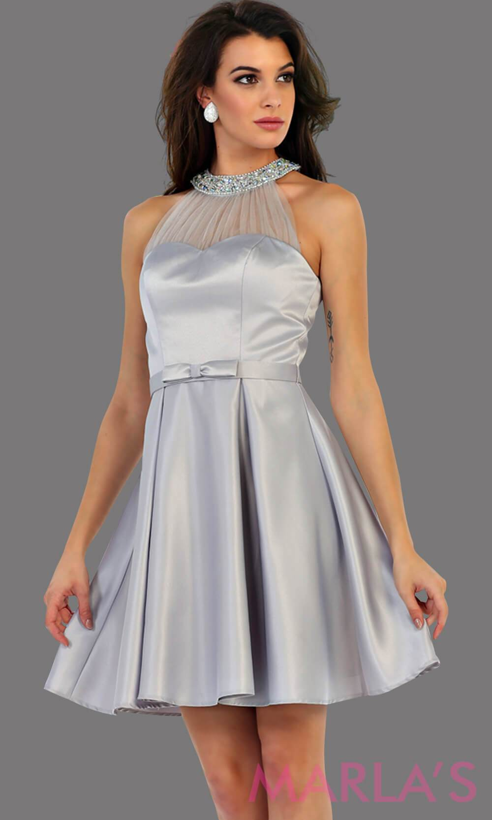1474-Short high neck taffeta gray grade 8 grad dress with rhinestone neckline. Perfect as a silver confirmation dress, wedding guest dress, graduation dress, short prom dress, or damas dress. Available in plus sizes