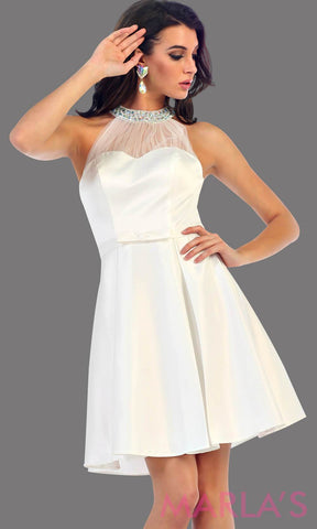 1474-Short high neck taffeta white grade 8 grad dress with rhinestone neckline. Perfect as a confirmation dress, bridal shower dress, bridal wedding short dress, graduation dress, short prom dress, or damas dress. Available in plus sizes