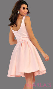 1477-Back of short v neck taffeta light pink grade 8 grad dress with rhinestone belt. Perfect as a blush confirmation dress, wedding guest dress, graduation dress, short prom dress, or damas dress. Available in plus sizes