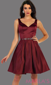 1477-Short v neck taffeta burgundy grade 8 grad dress with rhinestone belt. Perfect as a dark red confirmation dress, wedding guest dress, graduation dress, short prom dress, or damas dress. Available in plus sizes