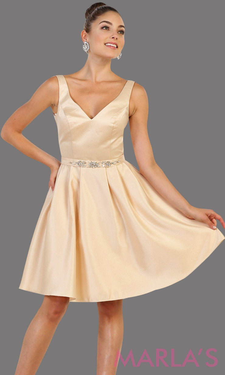 Short v neck taffeta champagne grade 8 grad dress with rhinestone belt. Perfect as a confirmation dress, wedding guest dress, graduation dress, short prom dress, or damas dress. Available in plus sizes