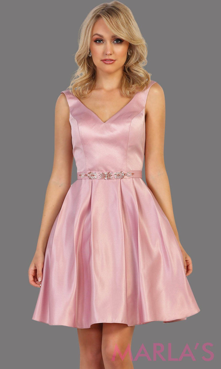 Short v neck taffeta dusty rose  grade 8 grad dress with rhinestone belt. Perfect for confirmation dress, wedding guest dress, graduation dress, pink short prom dress, damas dress. Available in plus sizes