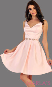 1477-Short v neck taffeta light pink grade 8 grad dress with rhinestone belt. Perfect as a blush confirmation dress, wedding guest dress, graduation dress, short prom dress, or damas dress. Available in plus sizes