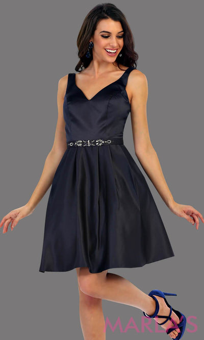 1477-Short v neck taffeta navy grade 8 grad dress with rhinestone belt. Perfect as a dark blue confirmation dress, wedding guest dress, graduation dress, short prom dress, or damas dress. Available in plus sizes
