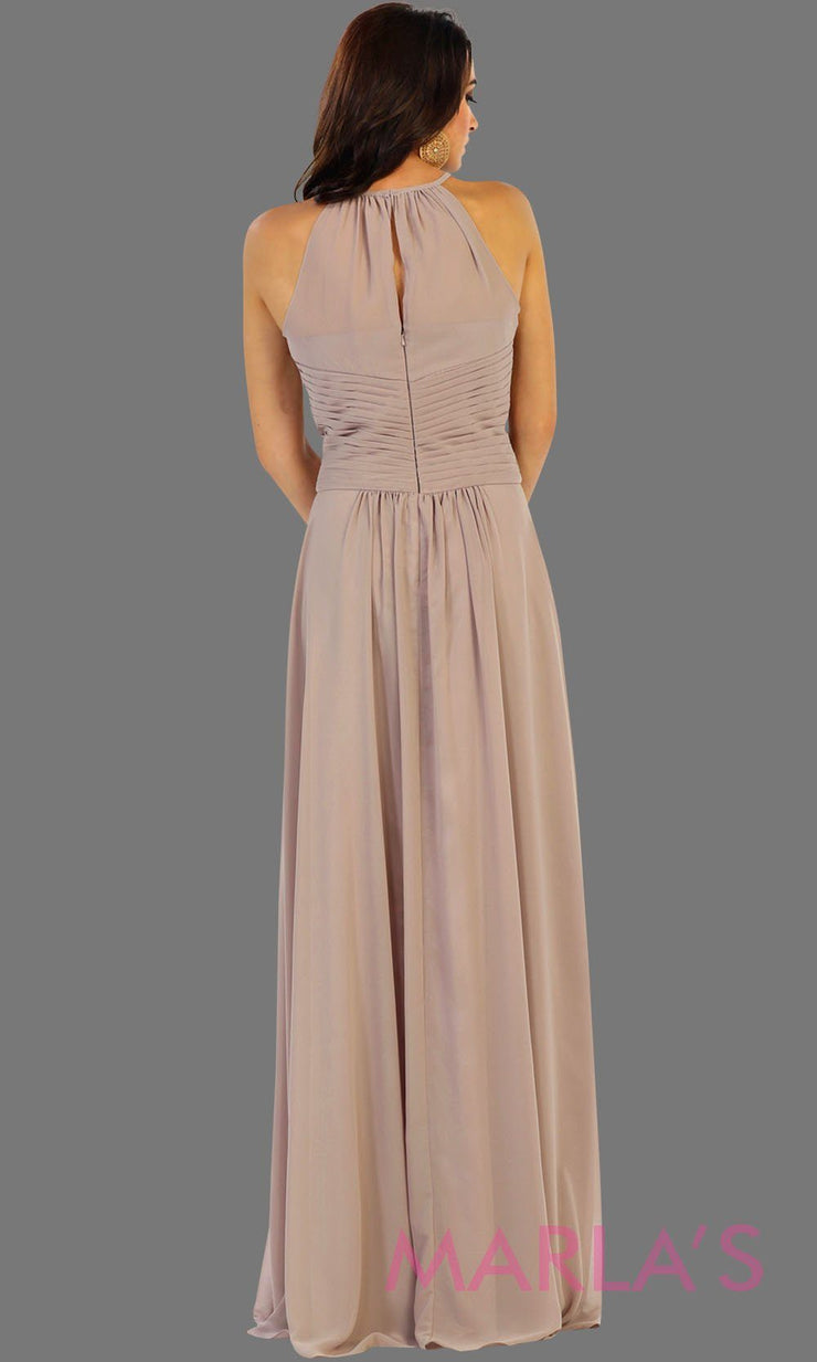 Back of Long champagne flowy high neck bridesmaid dress with an empire waist. This taupe dress can be worn as a formal wedding guest dress, western party dress, simple flowy dress, destination bridesmaid dress. Plus size avail