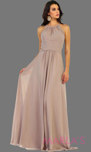 Long champagne flowy high neck bridesmaid dress with an empire waist. This taupe dress can be worn as a formal wedding guest dress, western party dress, simple flowy dress, destination bridesmaid dress. Plus size avail