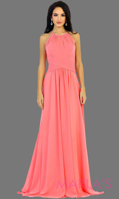 Long coral flowy high neck bridesmaid dress with an empire waist. This light orange dress can be worn as a formal wedding guest dress, western party dress, simple flowy dress, destination bridesmaid dress. Plus size avail