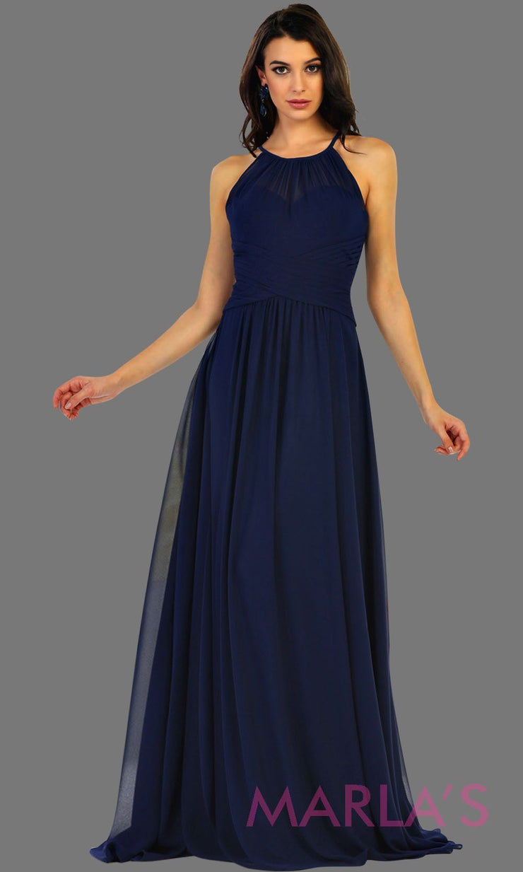 Long navy flowy high neck bridesmaid dress with an empire waist. This dark blue dress can be worn as a formal wedding guest dress, western party dress, simple flowy dress, destination bridesmaid dress. Plus size avail