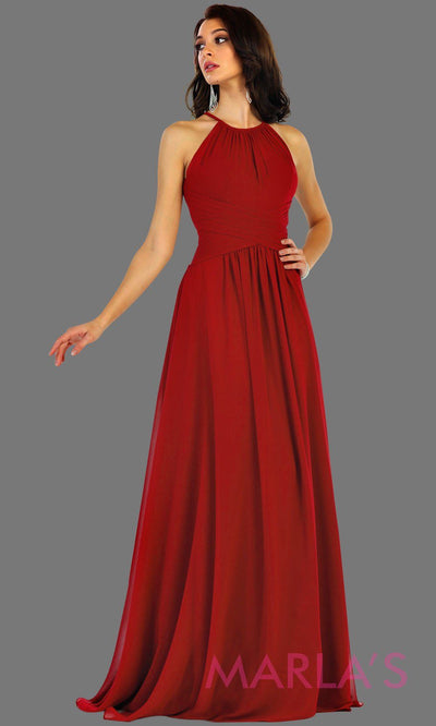 Long red flowy high neck bridesmaid dress with an empire waist. This red dress can be worn as a formal wedding guest dress, western party dress, simple flowy dress, destination bridesmaid dress. Plus size avail