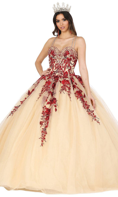 Dancing Queen - 1481 Spaghetti Strap Floral Embroidered Ballgown In Gold and Red