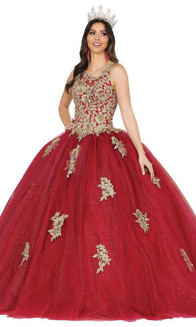 Dancing Queen - 1484 Rose Motif Appliqued Ballgown In Burgundy