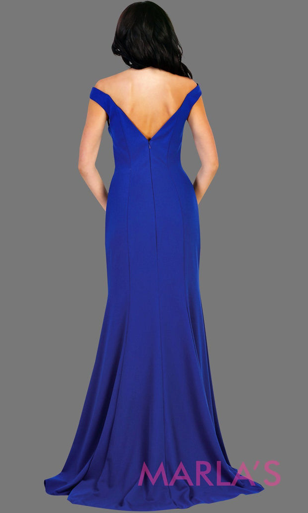 Back of Long fitted royal blue mermaid dress with low v back and low front. Perfect for prom, fitted evening gown, gala, formal blue wedding guest dress, western party dress, full length formal dress. Available in plus sizes.