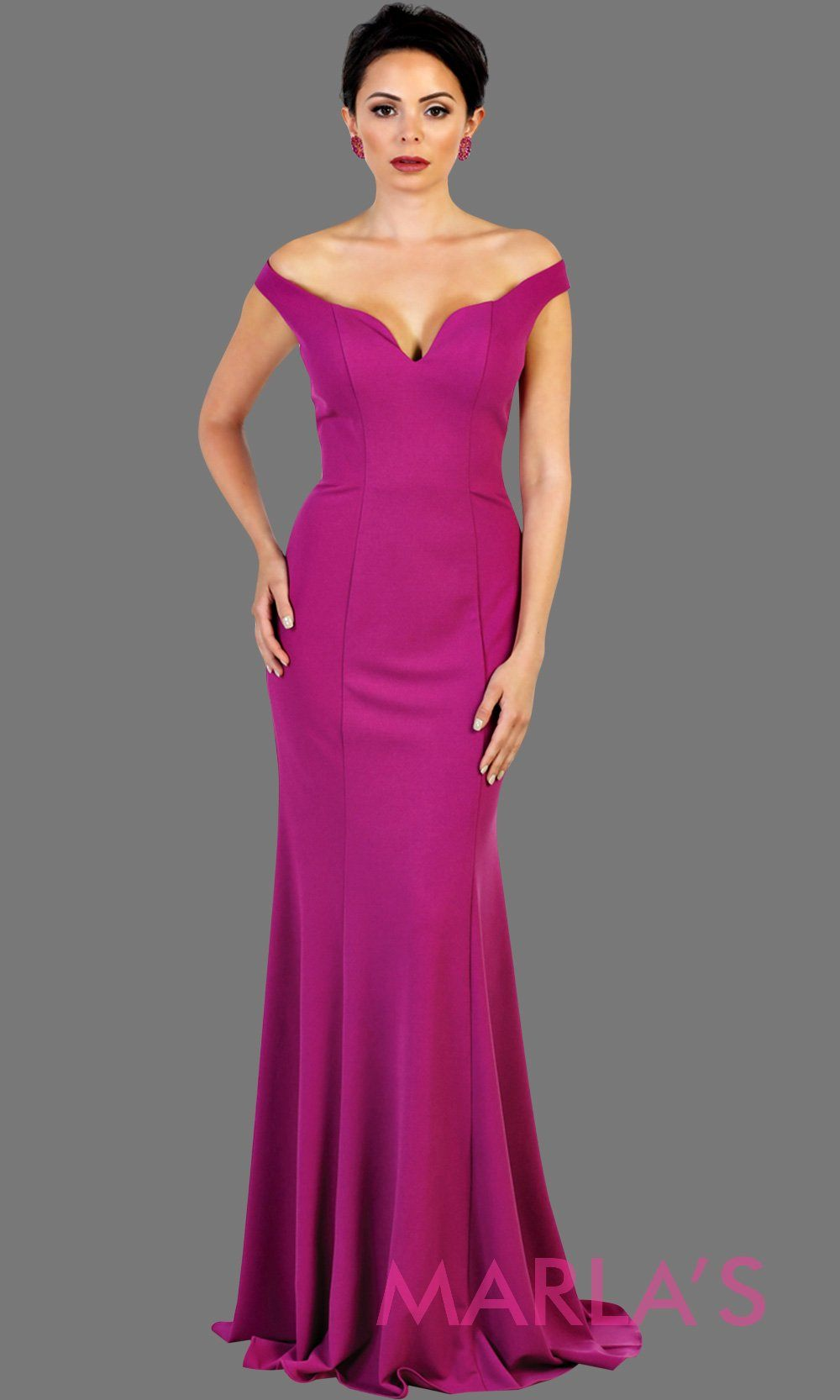 Long fitted magenta mermaid dress with low v back and low front. Perfect for prom, fitted evening gown, gala, formal purple pink wedding guest dress, western party dress, full length formal dress. Available in plus sizes.