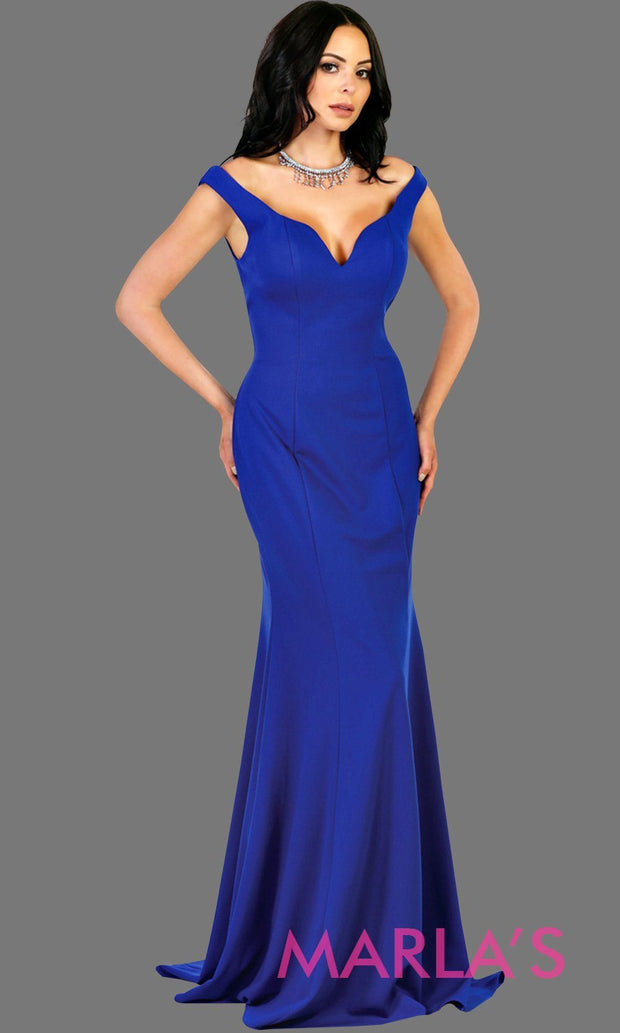 Long fitted royal blue mermaid dress with low v back and low front. Perfect for prom, fitted evening gown, gala, formal blue wedding guest dress, western party dress, full length formal dress. Available in plus sizes.