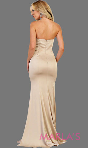 Back of Long champagne strapless fitted dress with rhinestone belt. Perfect taupe dress for prom, gala, bridesmaids,  formal party, wedding guest dresses, sleek and sexy party dress. Available in plus sizes.