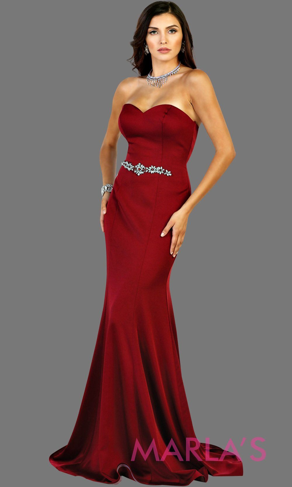 Long burgundy strapless fitted dress with rhinestone belt. Perfect dark red dress for prom, gala, bridesmaids,  formal party, wedding guest dresses, sleek and sexy party dress. Available in plus sizes.