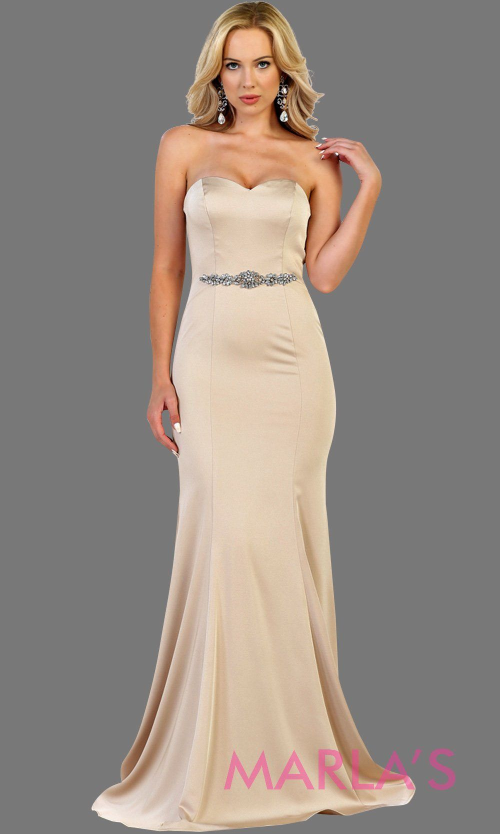 Long champagne strapless fitted dress with rhinestone belt. Perfect taupe dress for prom, gala, bridesmaids,  formal party, wedding guest dresses, sleek and sexy party dress. Available in plus sizes.