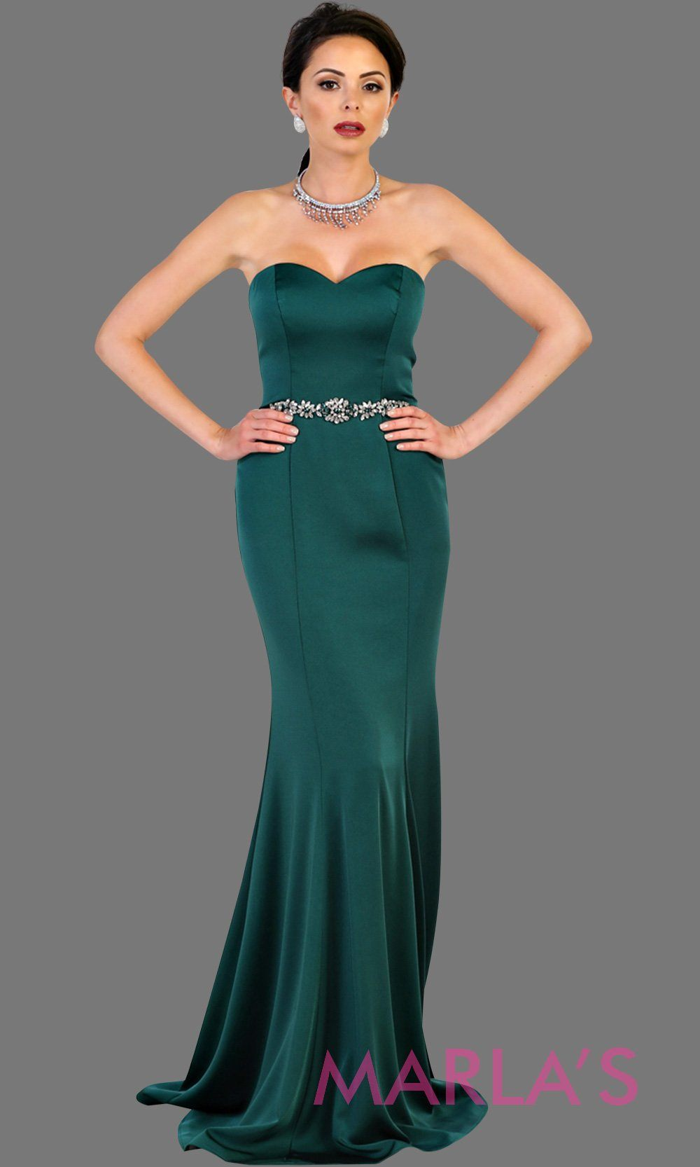 Long hunter green strapless fitted dress with rhinestone belt. Perfect dark green dress for prom, gala, bridesmaids,  formal party, wedding guest dresses, sleek and sexy party dress. Available in plus sizes.