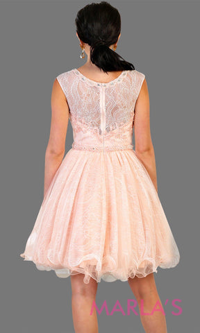 Back of Short high neck puffy pink blush dress with lace top. Perfect for grade 8 grad, graduation, light pink confirmation, quinceanera damas, sweet 16, sweet 15, 18th birthday, semi formal, ballerina dress. Available in plus sizes.