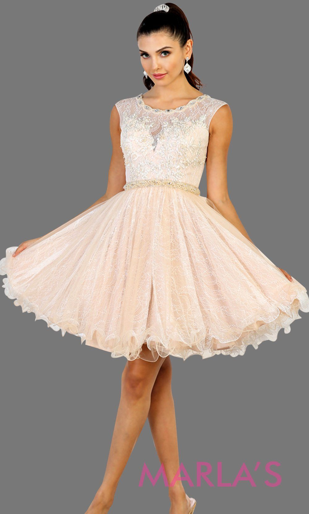 Short high neck puffy champagne dress with lace top. Perfect for grade 8 grad, graduation, light gold confirmation, quinceanera damas, sweet 16, sweet 15, 18th birthday, semi formal, ballerina dress. Available in plus sizes.