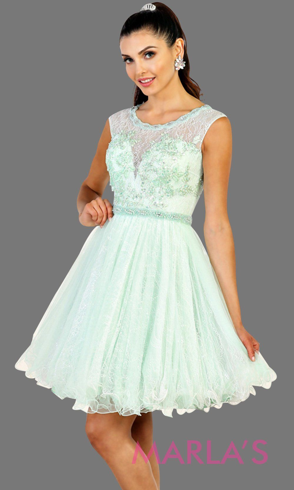 Short high neck puffy mint dress with lace top. Perfect for grade 8 grad, graduation, light green confirmation, short prom,  quinceanera damas, sweet 16, sweet 15, 18th birthday, semi formal, ballerina dress. Available in plus sizes.