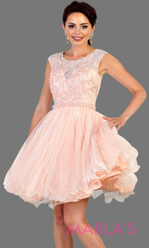 Short high neck puffy pink blush dress with lace top. Perfect for grade 8 grad, graduation, light pink confirmation, quinceanera damas, sweet 16, sweet 15, 18th birthday, semi formal, ballerina dress. Available in plus sizes.