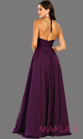 Back of Long high neck dark purple flowy dress with empire waist.  Perfect for simple  prom dress, eggplant purple bridesmaid dress, evening dress, destination bridesmaid dress, long party dress, western party dress. Available in plus sizes.