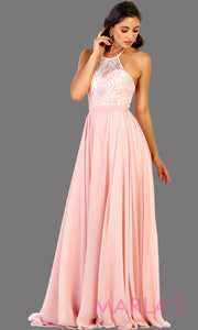 Long high neck blush pink flowy dress with empire waist.  Perfect for simple  prom dress, light pink bridesmaid dress, evening dress, destination bridesmaid dress, long party dress, western dres. Available in plus sizes.