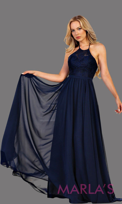 Long high neck dark blue flowy dress with empire waist.  Perfect for simple  prom dress, navy blue bridesmaid dress, evening dress, destination bridesmaid dress, long party dress, long western dress. Available in plus sizes.