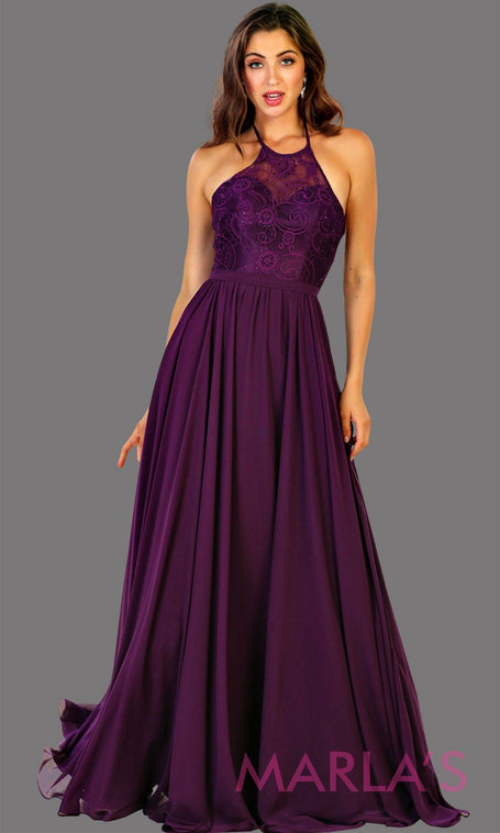 ea2cc31deb Long high neck dark purple flowy dress with empire waist. Perfect for  simple prom dress