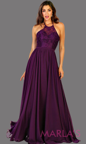 Long high neck dark purple flowy dress with empire waist.  Perfect for simple  prom dress, eggplant purple bridesmaid dress, evening dress, destination bridesmaid dress, long party dress, western party dress. Available in plus sizes.
